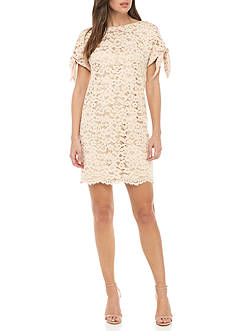 Vince Camuto Cold Shoulder Knot Sleeve Shift Dress