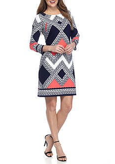 Vince Camuto Long Sleeve Printed Shift Dress