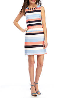Vince Camuto Sleeveless Stripe Satin Shift Dress