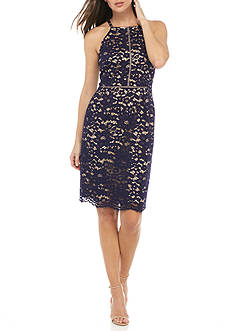 Vince Camuto Lace Trim Halter Dress