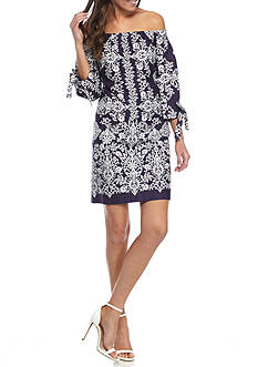 Vince Camuto Off the Shoulder Floral Printed Shift Dress