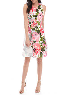 Vince Camuto Floral Printed Sateen Fit-and-Flare Dress