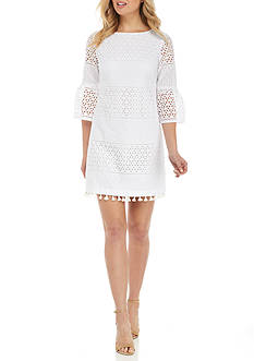 Vince Camuto Eyelet Bell-Sleeve Shift Dress