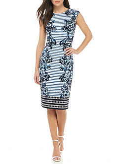Vince Camuto Printed Cap Sleeve Shift Dress