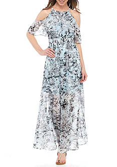 Vince Camuto Floral Chiffon Halter Maxi Dress