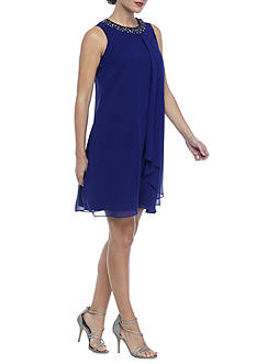 Vince Camuto Beaded Neck Chiffon Dress