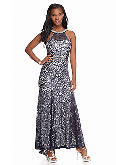 sequin hearts Bead Embellished Lace Gown