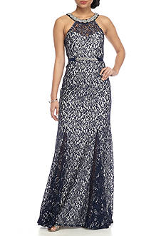 sequin hearts Beaded Metallic Lace Gown