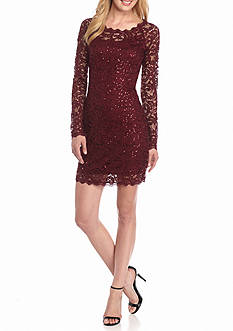 sequin hearts Sequin and Lace Sheath Dress