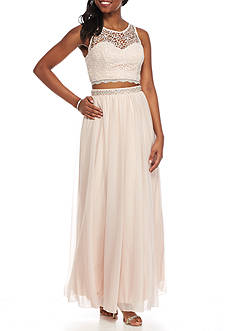 sequin hearts Two-Piece Bead Embellished Gown
