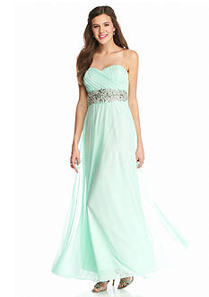 sequin hearts Strapless Bead Embellished Gown