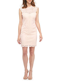 sequin hearts Mock Neck Lace Sheath Dress