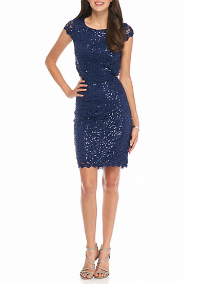 sequin hearts Lace and Sequin Party Dress with Cutout Back