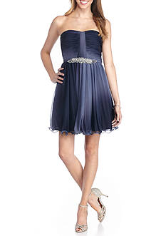 sequin hearts Strapless Ombre Bead Embellished Party Dress
