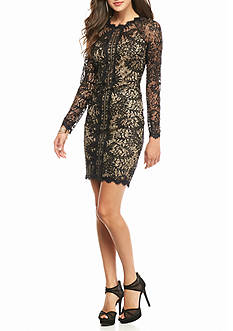 sequin hearts Long-Sleeve Lace and Sequin Dress