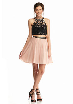 sequin hearts Lace and Mesh Two-Piece Halter Dress