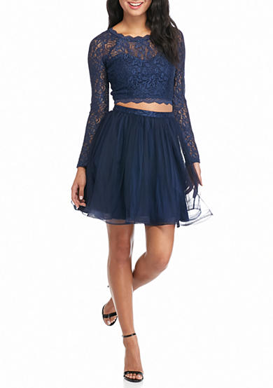 sequin hearts Lace and Mesh Two-Piece Skirt Set