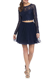 sequin hearts Short Two Piece Lace Top