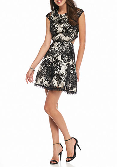 sequin hearts Lace Overlay with Sequin Party Dress with Cutout Back