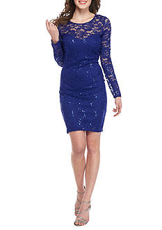 sequin hearts Lace and Sequin Sheath Dress