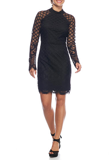 sequin hearts Mock-Neck Lace Sheath Dress