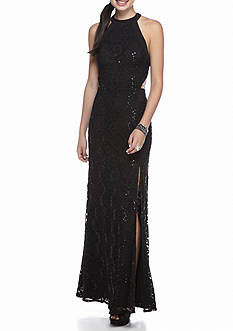 sequin hearts Lace and Sequin Halter Gown
