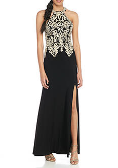 sequin hearts Long Beaded Halter Gown