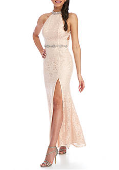 sequin hearts Long Lace Beaded Gown