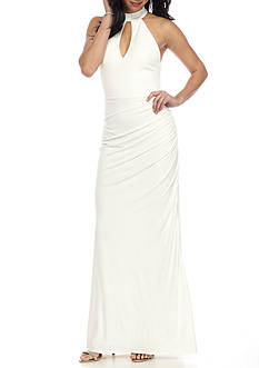 sequin hearts Solid Mock Neck Jersey Gown