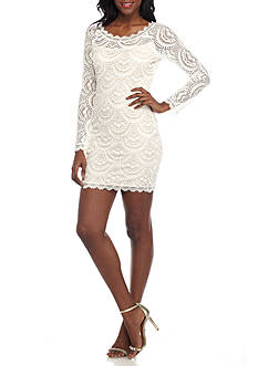 sequin hearts Long Sleeve Lace Sheath Dress