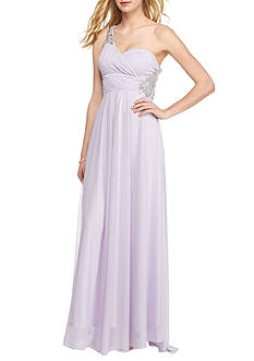 sequin hearts Long One Shoulder Chiffon Gown