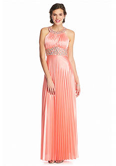 sequin hearts Bead Embellished Pleated Halter Gown