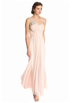 sequin hearts One Shoulder Bead Embellished Gown
