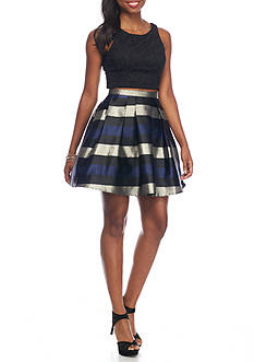 sequin hearts Two-Piece Stripe Skirt Set
