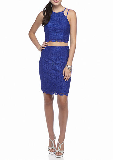 sequin hearts Two-Piece Glitter Lace Skirt Set