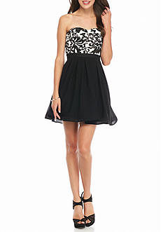 sequin hearts Strapless Sequin Mesh Bodice Party Dress