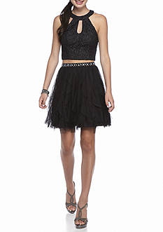 sequin hearts Two-Piece Halter Skirt Set