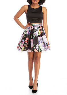 sequin hearts Floral Two Piece Party Dress