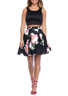 sequin hearts Two-Piece Solid Crop Top with Floral Skirt