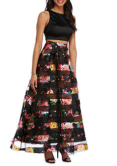 My Michelle Black and Floral Two Piece Dress