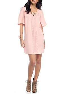 sequin hearts Crepe Embroidered Lace Up Neck Dress