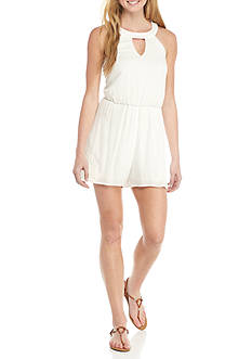My Michelle Halter Lace Trim Romper