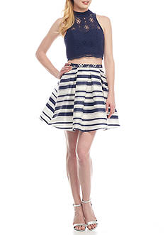 sequin hearts Two-Piece Lace Top and Striped Skirt