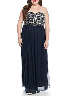 My Michelle Plus Size Strapless Bead Embellished Bodice Gown
