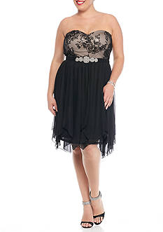 My Michelle Plus Size Strapless Bead Embellished Party Dress
