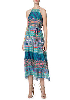 Donna Morgan Printed Halter Midi Dress