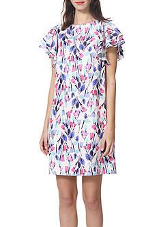 Donna Morgan Printed Flutter Sleeve Sheath Dress