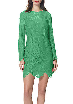 Donna Morgan Long Sleeve Lace A-Line Dress