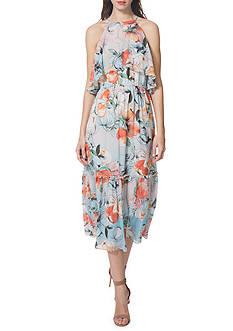 Donna Morgan Ruffle Halter Neck Midi Dress