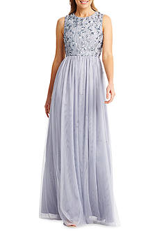 Donna Morgan Beaded Bodice Mesh Gown